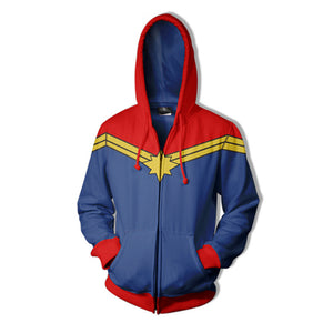 Marvel Captain Marvel Comic Version Zip Up Hoodies Jacket for Adults and Youth