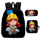 Brawl Stars  School Polyester Backpack With Lunch Bag Pencil Case 3PCS Set