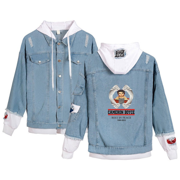 Cameron Boyce Youth Fashion Demin Hooded Blue Jacket