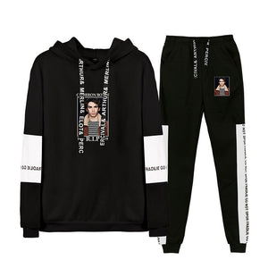 Cameron Boyce Youth Teens Fashion Pull Over Hoodie And Sweatpants Black Print Suit Set