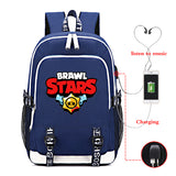 Brawl Stars  Big Capacity Rucksuck Students Backpack School Bag With USB Charging Port For Youth