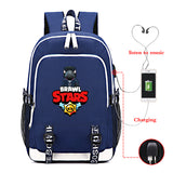 Brawl Stars  Big Capacity Rucksuck Students Polyester Backpack School Bag With USB Charging Port For Youth
