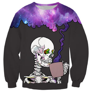 Halloween Hoodies  Skull Drinking Purple Smoke Print  Hoodies Sweatshirt Unisex