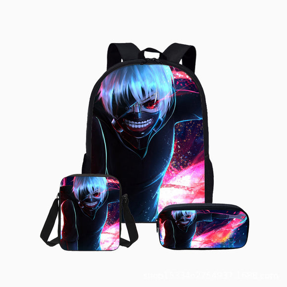 Anime Tokyo Ghoul Backpack Students Bookbag with Lunch Box Pencil Case Set  for Boys And Girls