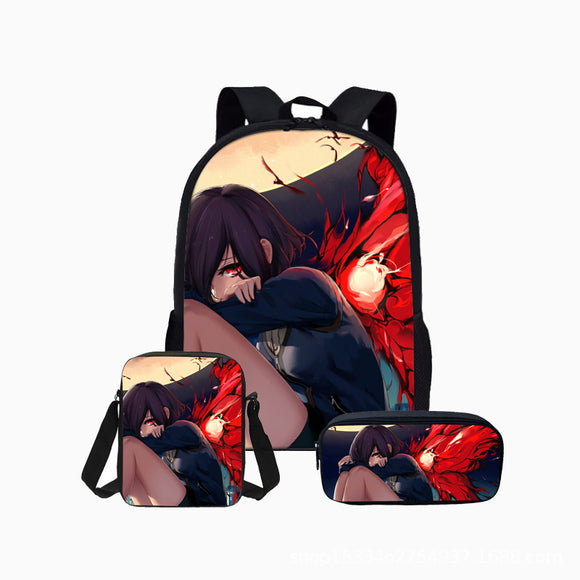 Anime Tokyo Ghoul Polyester Backpack Students Bookbag with Lunch Box Pencil Case Set  for Boys And Girls