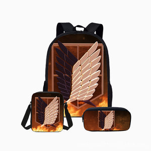 Attack on Titan Shingeki no Kyojin Khaki Students Backpack With Lunch Box and Pencil Bag set