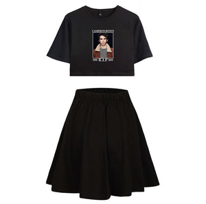 Cameron Boyce Girls Crop Top and Skirt Black Print Suit Set
