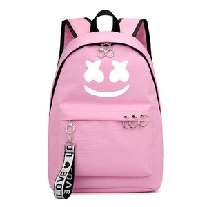 DJ Marshmello Backpack Luminous Pattern School Backpack Bookbags With Zipper Decor
