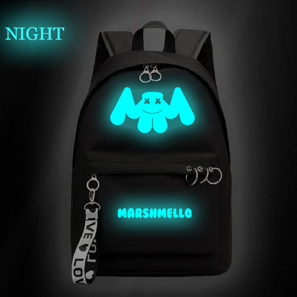 Luminous DJ Marshmello Backpack School Backpack Bookbags