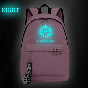 Supernatural Youth School Backpack Students Bookbags Glow In The Dark