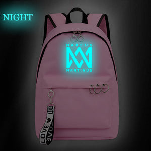 Marcus And Martinus Teens Backpack Students School Backpack Bookbag Glow In The Dark