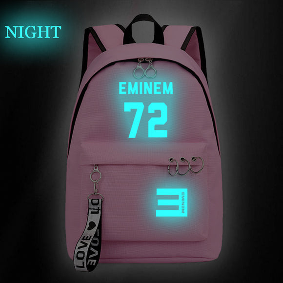 Eminem Backpack High School Students Shoulder Bag Glow In The Dark