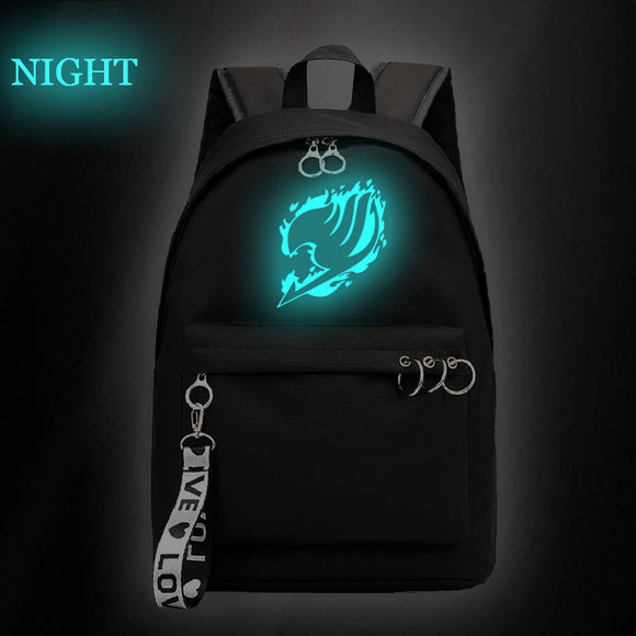 Fairy Tail Backpack Youth Kids School Bag Glow In The Dark