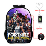 Fortnite 3D Print Backpack School Bookbag For Kids Teenagers With USB Charging Port