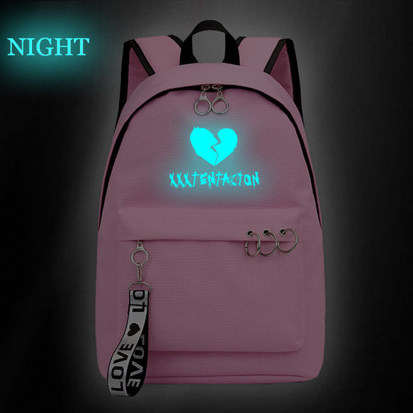 Xxxtentacion Youth Fashion Backpack Students School Bag Glow In The Dark