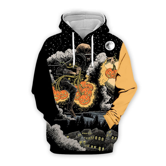 Halloween Hoodies Ghost and Pumpkin Lantern Print Sweatshirt Unisex