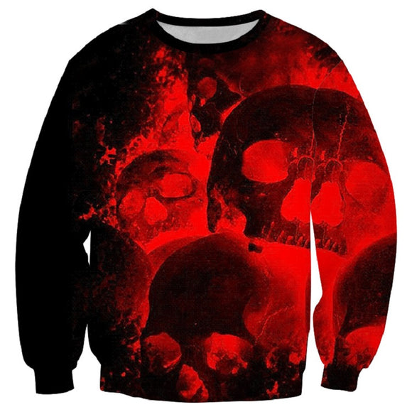 Halloween Hoodies  Red Bloody Skull Print  Hoodies Sweatshirt Unisex