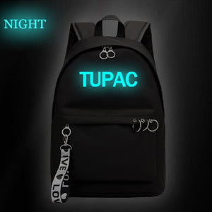 2PAC Tupac Shakur Teens Students Hip Hop Fans Backpack Glow In The Dark