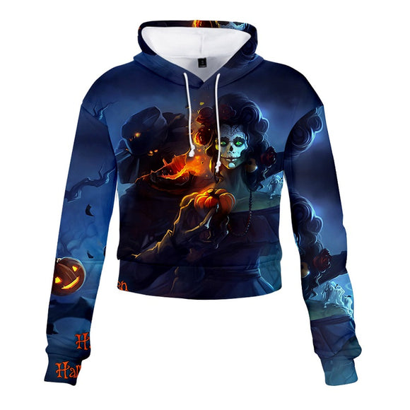 Halloween Hoodies Wizard Face Print Crop Top  For Girls Women