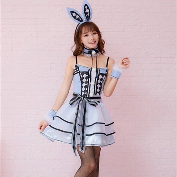 Halloween Blue Bunny Costume Alice Cosplay Costume Set