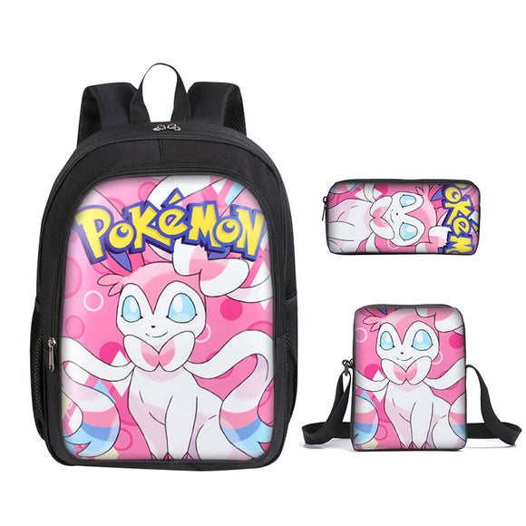 Pokemon Go Backpack With Lunch Box and Pencil Case 3 PCS Set for Boys and Girls