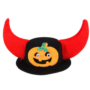 Halloween Pumkin Devil Horns Hat for Pet Dogs and Cats