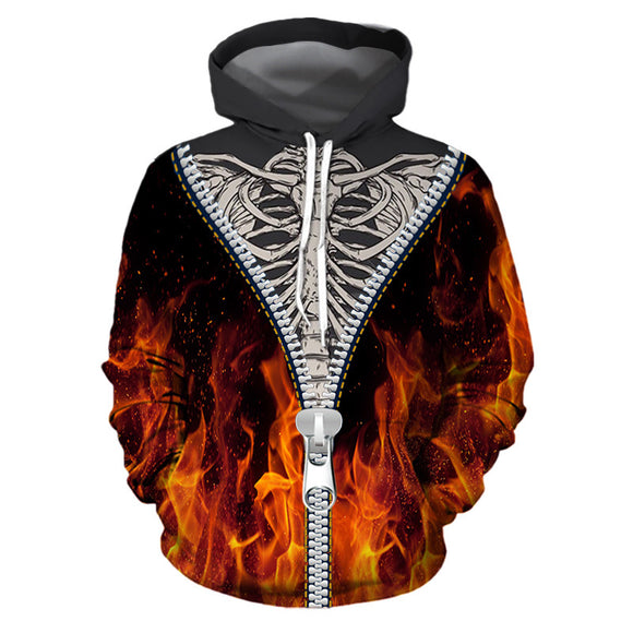 Halloween Hoodies Skeleton and Fake Zipper Print Hoodies  Unisex