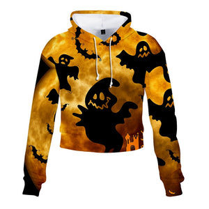 Halloween Hoodies Ghost Print Crop Top Hoodies  For Girls Women
