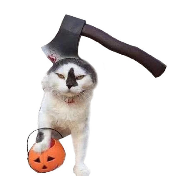 Halloween  Dog Cat Costume  Fake Axe Hat for Pet Dog and Cats