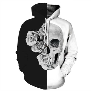 Halloween Hoodies Skull and Rose Print Hoodies  Unisex