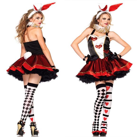 Halloween Bunny Costume Cosplay Poker Card Heart Queen Costume Set-One Size