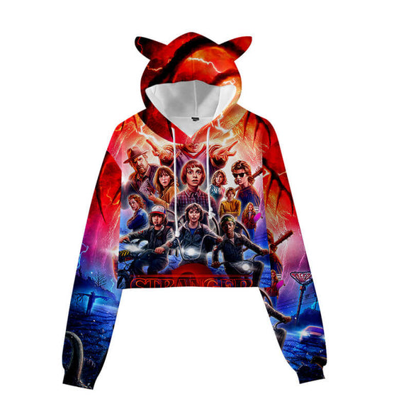Stranger Things Crop Top Hoodie With Cat Ear