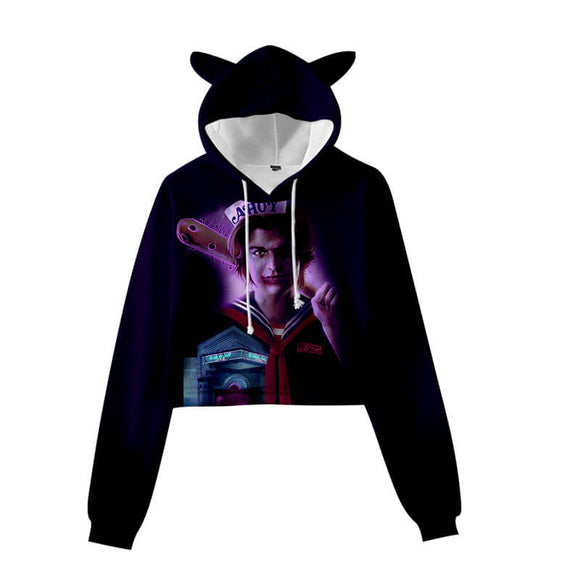Stranger Things Crop Top Hoodie With Cat Ear for Girl