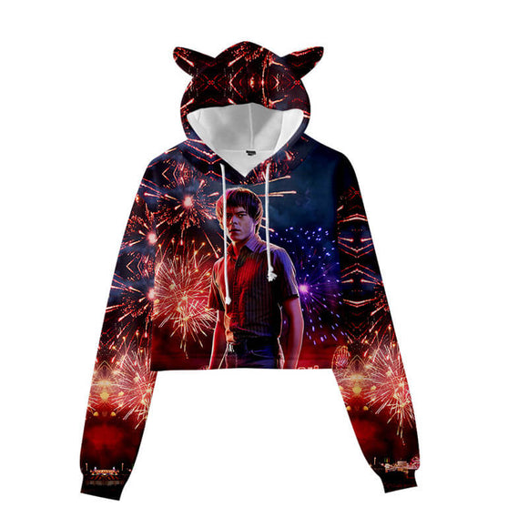 Stranger Things Girls Crop Top Hoodie With Cat Ear