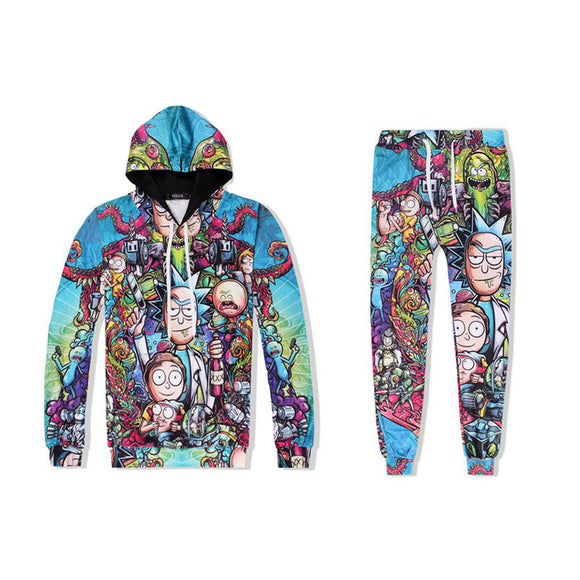 Rick and Morty 3D Print Fashion Hoodie and Sweatpants Suit