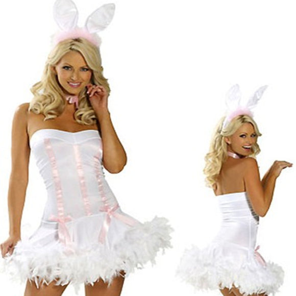 Sexy Halloween Bunny Costume Tube Top Dress Set