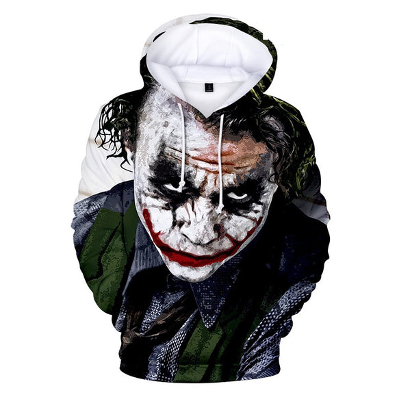 Hot Fashion Joker 2019 3D Print Pull Over Drawstring Hooded Hoodies For Kids