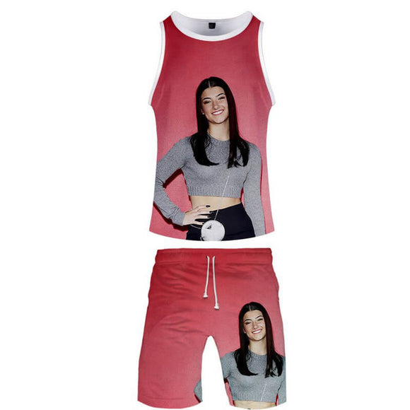 Charli D'Amelio T-shirt Vest Set for Youth Teens