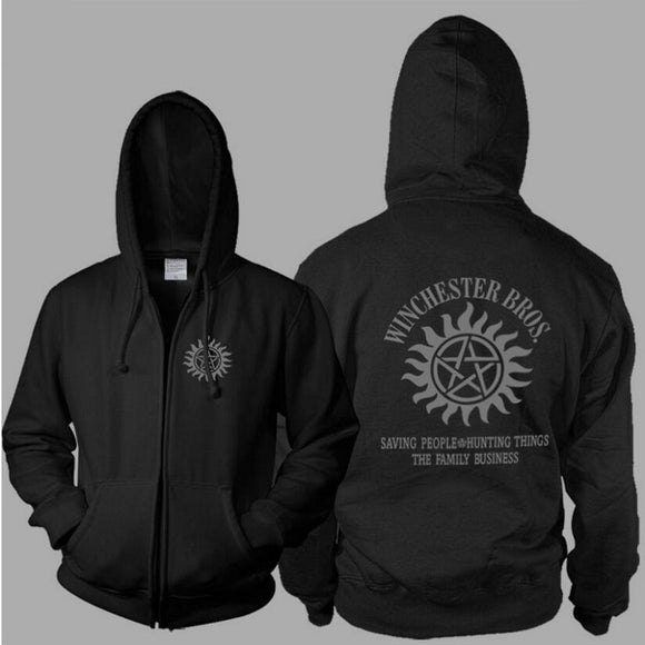 Supernatural High Quality Zip Up Hoodie Jacket Unisex