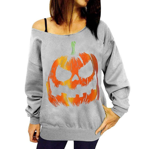 Halloween Shirt  Girls Women Pumpkin Lantern Print Off Shoulder Long Sleeve Shirt