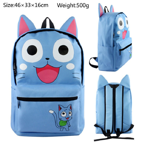 Fairy Tail  Blue Happy cat Backpack Students School Bags