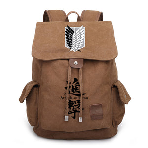 Attack on Titan Shingeki no Kyojin Backpack Canvas Bag For Youth Tteenager