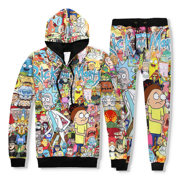 Rick And Morty 3D Print Casual Drawstring Hoodie And Sweatpants Suit