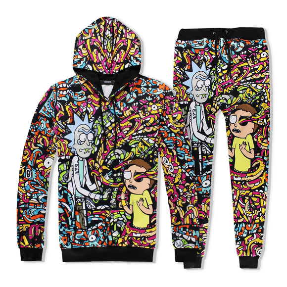 Rick And Morty 3D Print Pull Over Hooded Hoodies And Sweatpants Suit