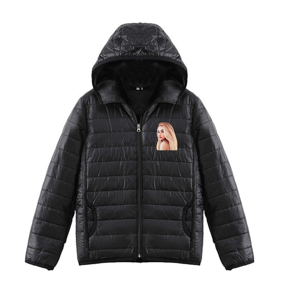 Ariana Grande 3D Brown Hair Print Long Sleeve Hooded Down Jacket