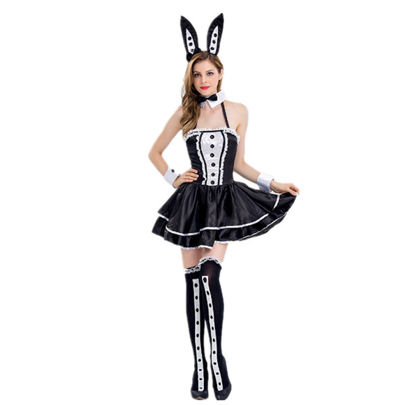 Halloween Black & White Bunny Costume Women Dress Set