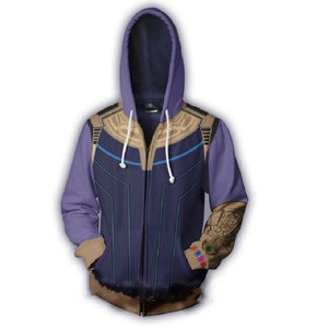 Marvel Thanos Zip Up Hoodie Jacket for Adults and Youth