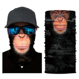 10Pcs Funny 3D Monkey Print Windproof Face Bandana And Head Scarf
