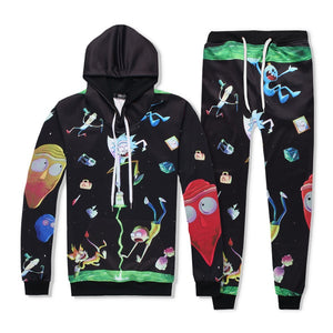 Rick And Morty 3D Print Pull Over Hoodie And Sweatpants Suit