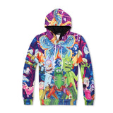 Rick And Morty Cannibal Flower Print Casual Hoodie And Sweatpants Suit